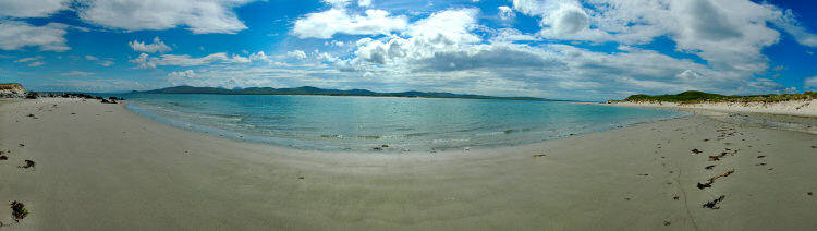 Picture of a panoramic view over a beach along a sea loch